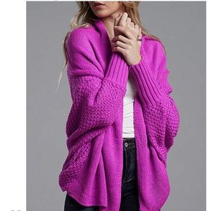 Rose Batwing Chunky Wrap Sweater